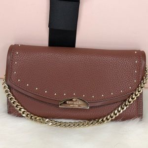 Kate Spade ♠️ NWT Brown Studded Clutch/Wallet